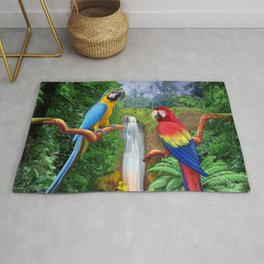 Macaw Tropical Parrots Rug