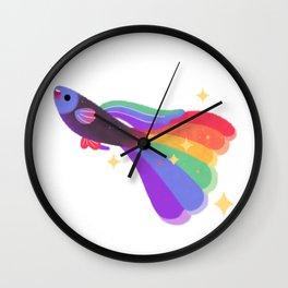 Rainbow guppy 9 Wall Clock