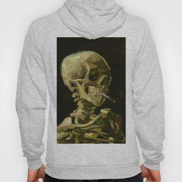 Skull of a Skeleton with Burning Cigarette Painting by Vincent van Gogh Hoody