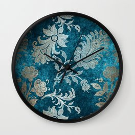 Aqua Teal Vintage Floral Damask Pattern Wall Clock