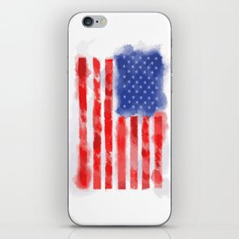 Watercolor American Flag for Veterans and Patriots iPhone Skin