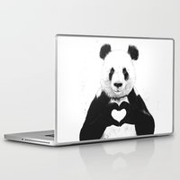 i love you to the moon and back Laptop & iPad Skins featuring All you need is love by Balazs Solti