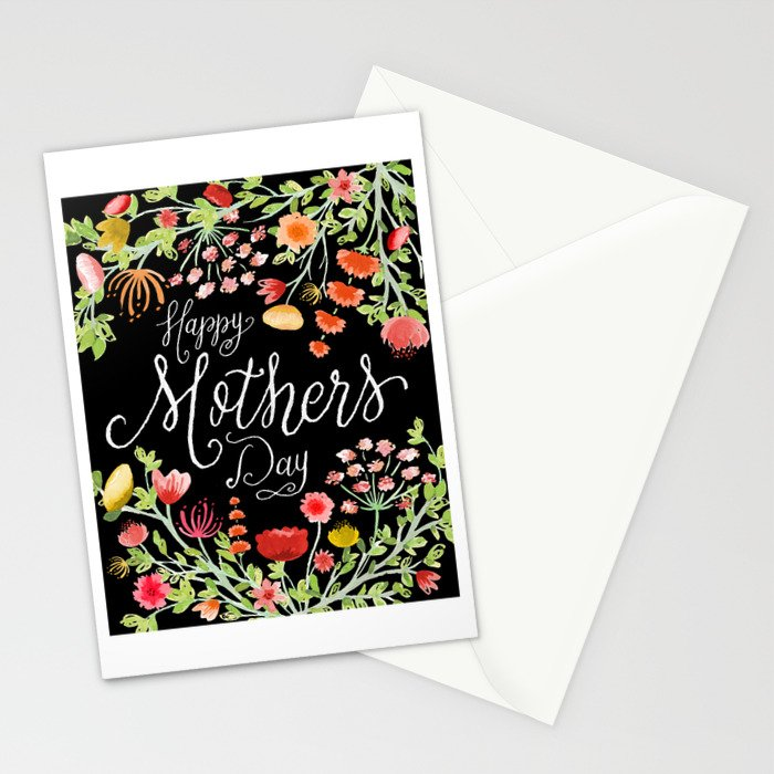 Happy Mother's Day // Ink Nib Lettering and Watercolor Florals on Elegant Black Background Stationery Cards