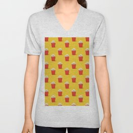 Mini red popcorn box with popcorn pattern on yellow. Unisex V-Neck
