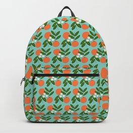 Oranges + Blossoms on Teal Backpack