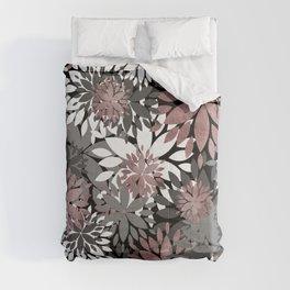 Pretty rose gold floral illustration pattern Comforters
