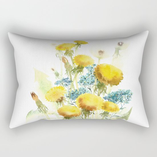 Watercolor flowers of blowball and forget-me-not Rectangular Pillow