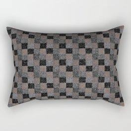 Rustic Black and Tan Patchwork Rectangular Pillow
