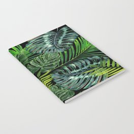 Jungle Tangle Green On Black Notebook