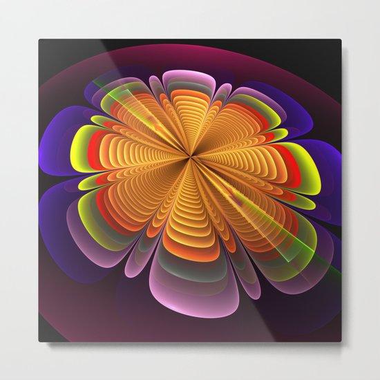 Fractal rainbow fantasy flower Metal Print