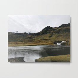 Iceland Lake and Cottage Metal Print