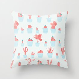 Cacti and Plants in Pots | Red and Mint Palette Throw Pillow