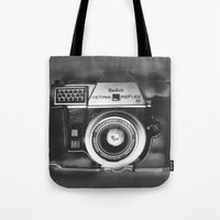 vintage camera Tote Bags featuring Camera by Pauline Gauer