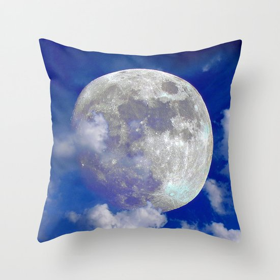 Fullmoon in clouds Throw Pillow
