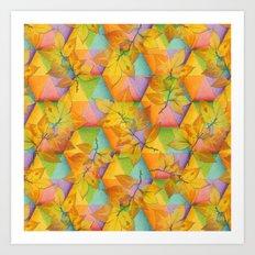Harlequin Rainbow Leaves Art Print