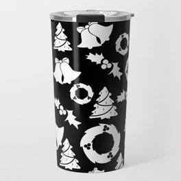 Classic Christmas in Black and White Travel Mug