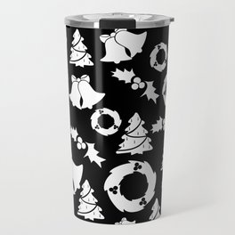 Classic Christmas in Black and White Travel Mug