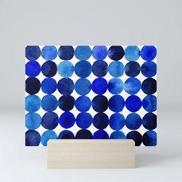 Blue Circles in Watercolor Mini Art Print
