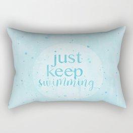 just keep swimming watercolor Rectangular Pillow