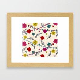 Roses and guns Framed Art Print