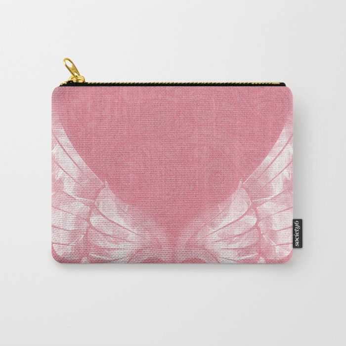 Pink/White Ethereal Angel Wing Digital Mural Art Carry-All Pouch