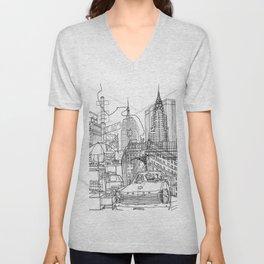 New York! B&W Unisex V-Neck