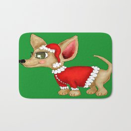 Christmas Chihuahua or Merry Chimas! Bath Mat