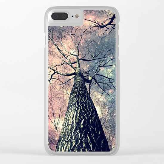 Wintry Trees Galaxy Skies Clear iPhone Case
