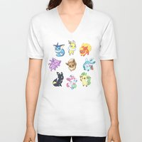 umbreon V-neck T-shirts featuring Colorful Evolutions by Kaydee Elaine - Odd Kitten Art