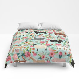 Farm animal sanctuary pig chicken cows horses sheep floral pattern gifts Comforters