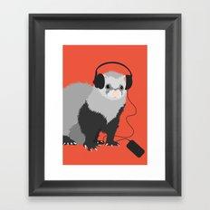 Music Loving Ferret Framed Art Print