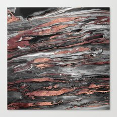 Modern rose gold abstract marbleized paint Canvas Print