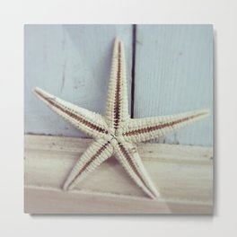 Pale Starfish on Blue Metal Print