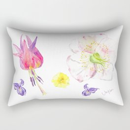 UriKuri Watercolour Spring flowers / hellebore, violet, primrose Rectangular Pillow