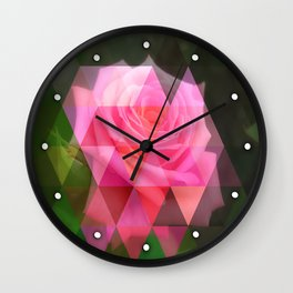 Pink Roses in Anzures 4 Art Triangles 1 Wall Clock
