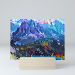 Abstract Landscape - Mountains and lakes Mini Art Print