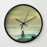 the little mermaid Wall Clocks featuring Little Mermaid by Kim Bajorek
