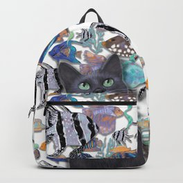 Black cat looking at an exotic fish tank Backpack