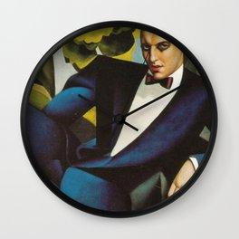 Classical Masterpiece Portrait of the Marquis d'Afflito by Tamara de Lempicka Wall Clock