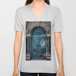 Antique Teal Blue Doorway Unisex V-Neck