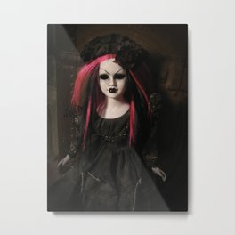 Creepy Gothic Mourning Doll with Black and Pink Hair Metal Print
