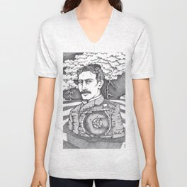Men at Sea: Tesla and His Bladeless Turbine Unisex V-Neck
