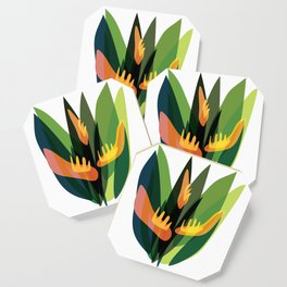 Abstract Tropical Jungle Plants Coaster