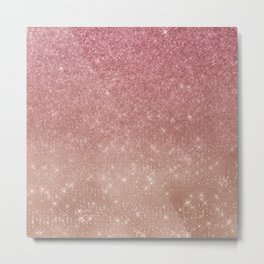 Girly Chic Pink Gold Glitter Ombre Metal Print