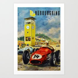 1957 Grand Prix Motor Racing Nurburgring Germany Vintage Advertising Poster Art Print