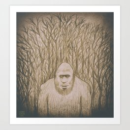 Sasquatch in the woods Art Print