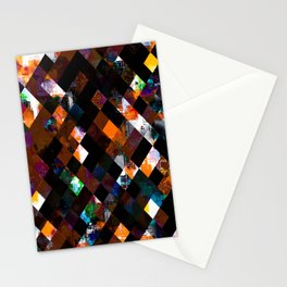 geometric pixel square pattern abstract art in orange green Stationery Cards
