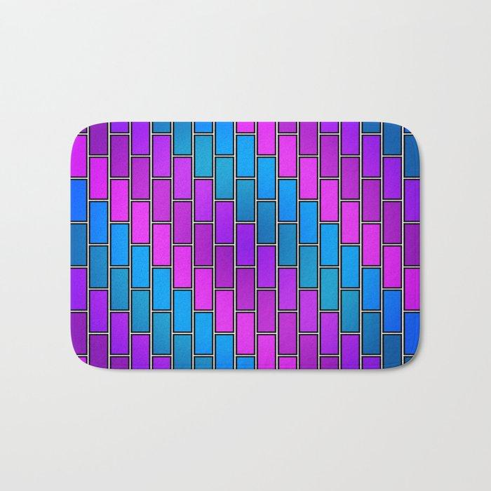 BRICK WALL #2 (Purples, Violets & Turquoises) Bath Mat