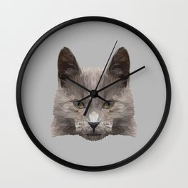 Gray cat low poly. Wall Clock
