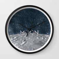 the moon Wall Clocks featuring Moon by Chris Redford